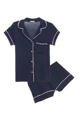 Ric Rac Short PJ Set - Navy Peacoat/White