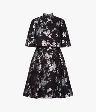 Favilla Lurex Jacquard Dress - Black/Silver