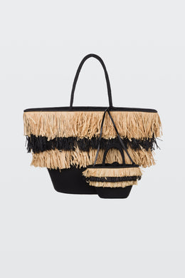 Summer Vibes Scuba Straw Bag Set - Pure Black