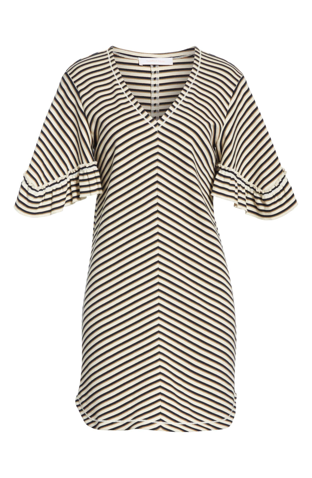 Ruffle-sleeve Stripe Dress - Black/Tan