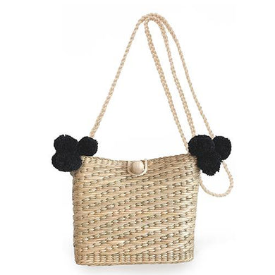 Maxime Pom Pom Basket Bag - Black