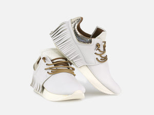 Fringe Sneaker - White Leather