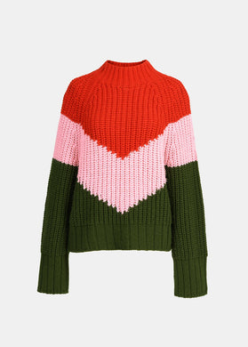 Wave Sweater - Red/Pink/Khaki