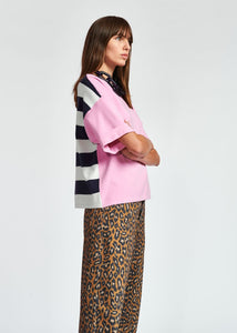Zrad Pullover Top - Pink/Navy Stripe