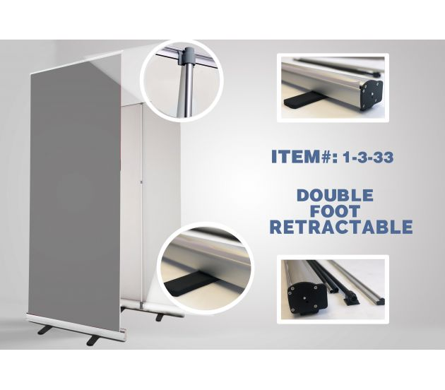 "DOUBLE FOOT RETRACTABLE - 33"" X 81"" (10PCS BOX) STAND ONLY - 702Prints.com"