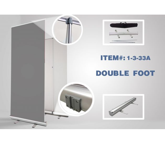 "ADJUSTABLE DOUBLE-FOOT RETRACTABLE - 33"" X 81"" - (10PCS IN BOX) STAND ONLY - 702Prints.com"