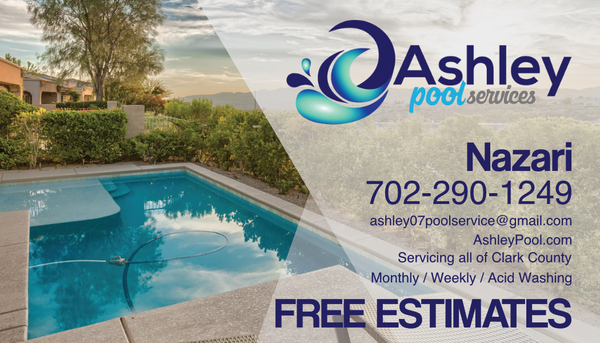Ashley Pool Services Business Cards - 702Prints.com