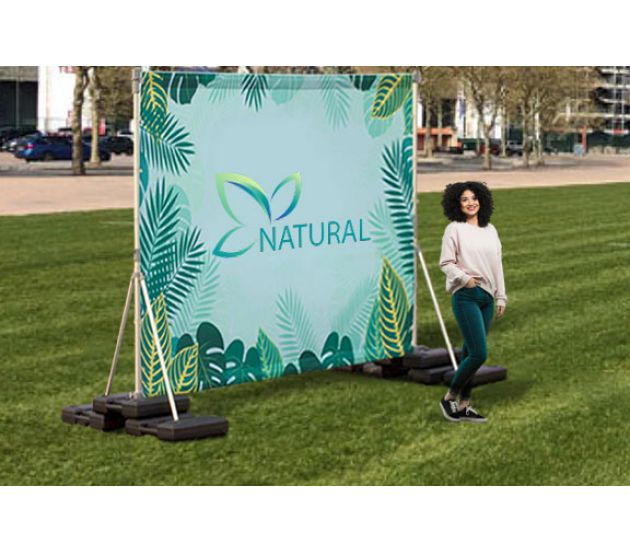 OUTDOOR BACK DROP STAND 8' X 8' (WATER BASE) - 702Prints.com