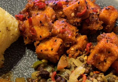Indian sweet and sour tofu. Meal for 2 or 3 people,