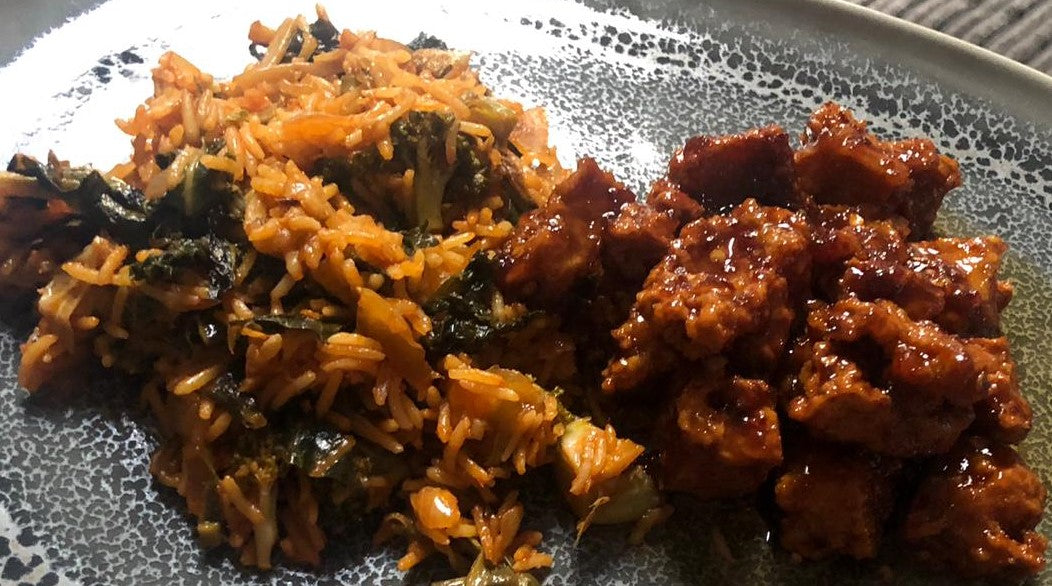 Garlic chilli tofu with Cabbage Nasi Goreng