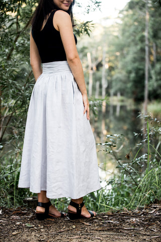 Long Linen Yoke Waist Skirt