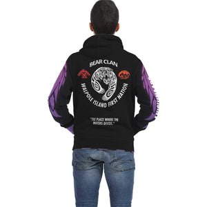 Bkejwanong Nation - Bear Clan 2 Black Hoodie AOP Zip Hoodie - TuWillows