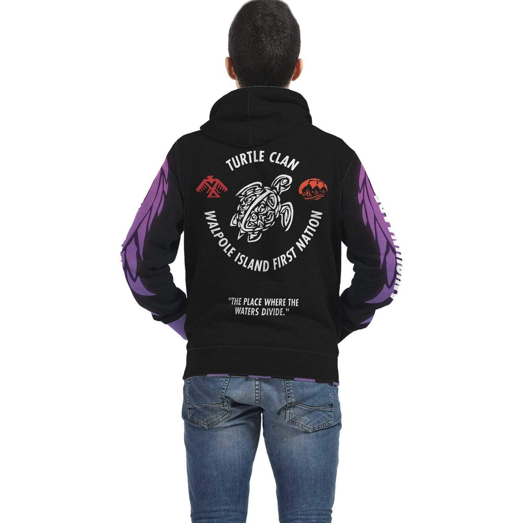 Bkejwanong Nation - Turtle Clan Black Hoodie AOP Zip Hoodie - TuWillows