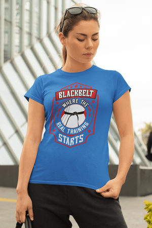 Blackbelt is Where the Real Training Starts - Budo Tshirt T-shirt - TuWillows