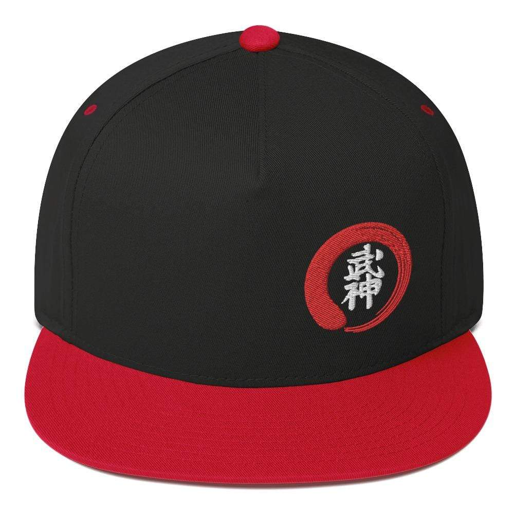 Bujinkan Kanji in an Incomplete Circle - Off Center - Flat Bill Cap - TuWillows