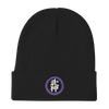 Bujinkan Kanji in Purple Circle - Knit Beanie Bujinkan Hat - TuWillows