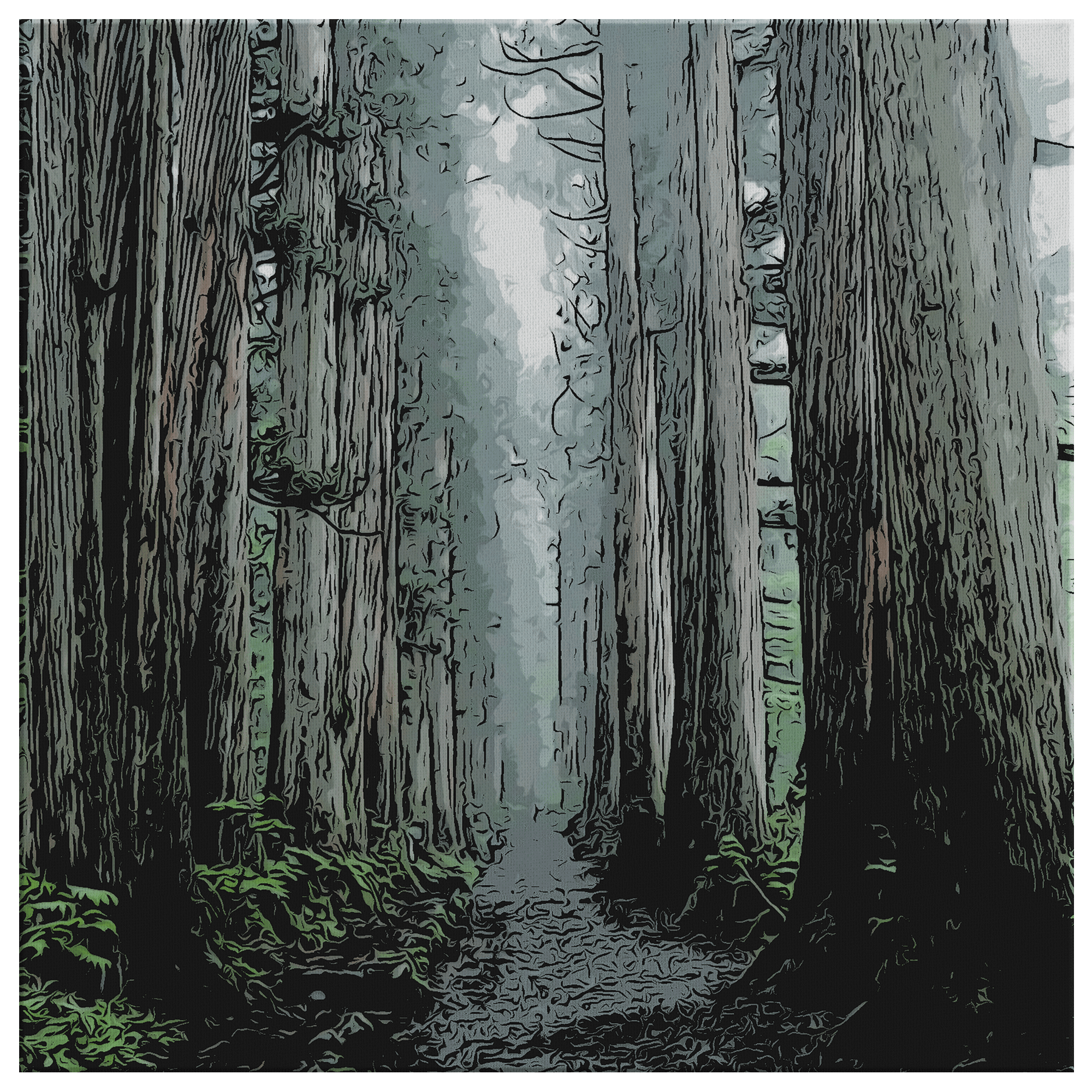 Togakushi Forest - Canvas Print 8 x 8 Canvas Wall Art 3 - TuWillows