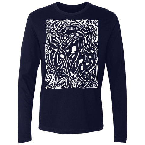 INV 70s Rose Mens Womens Graphic UNISEX Premium Long Sleeve T Shirt - Navy Front Image - Beachwear - NAUTIarts