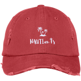 Red Embroidered Distressed Baseball Cap - Beachwear - Multiple Color Options - NAUTIarts