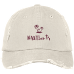 NAUTIarts Embroidered White Distressed Baseball Cap