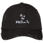 Black Embroidered Distressed Baseball Cap Beachwear - Multiple Color Options - NAUTIarts