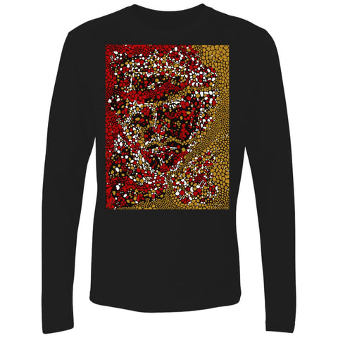 Dot Face Mens and Womens Graphic DK UNISEX Premium Long Sleeve T Shirt - Black Front - NAUTIarts