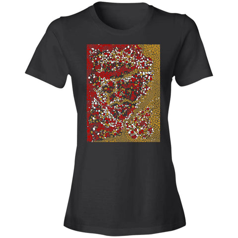 Dot Face Womens Graphic Lightweight T Shirt BLACK Front Image - NAUTIarts