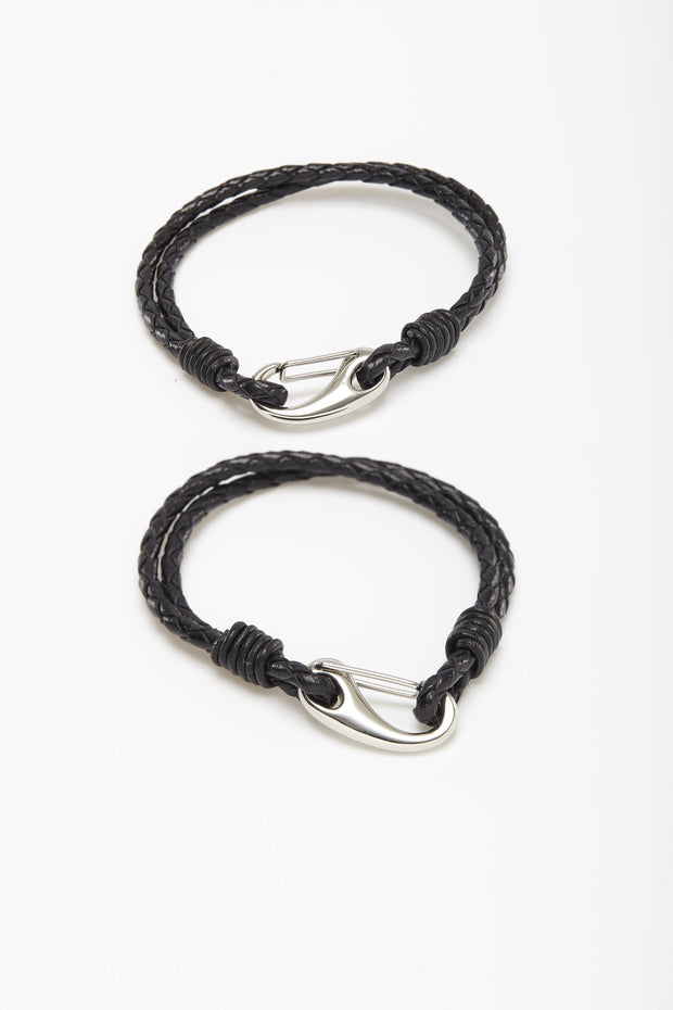 Thin Braided Black Leather Wristlets from Curator of Crafts