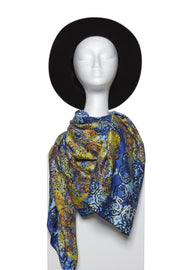 Blue and golden yellow colour 100% Silk Scarf by Saima from Curator of Crafts