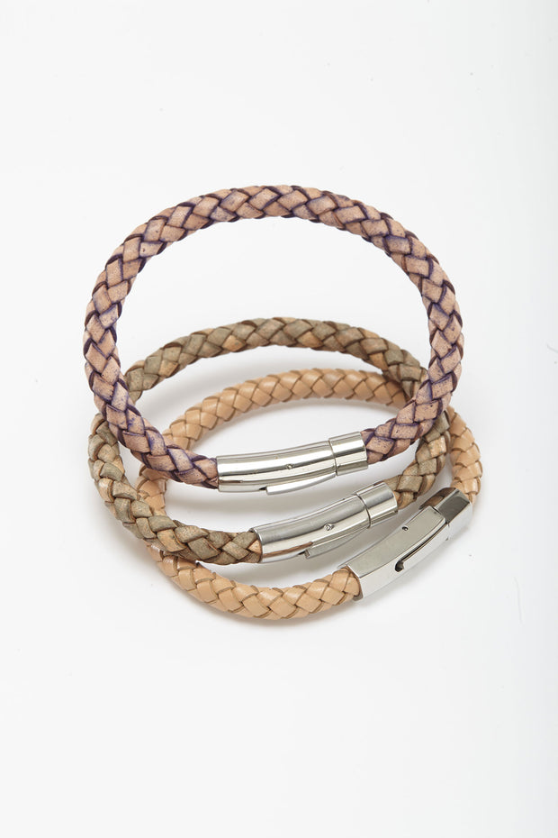 Braided Leather Wristlets with Square Clip from Curator of Crafts