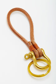 Brass Key Fob with Leather Cord from Curator of Crafts