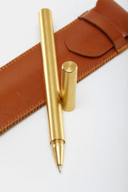 Cylindrical Matte Brass Pen from Curator of Crafts