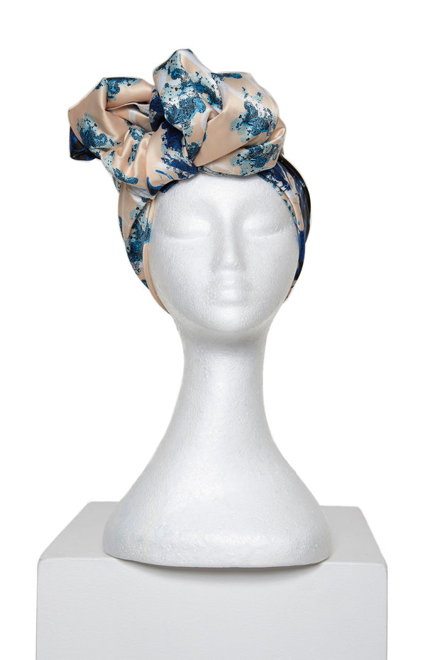 Cream and Blue Satin Silk Scarf by Saima from Curator of Crafts