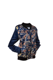 Amiri Teal Blue Satin Bomber Jacket by Saima from The Curator of Crafts