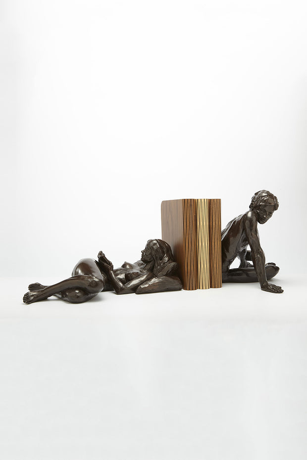 Girl reading & Kevin Pair of Bronze Sculptures by Tom Greenshields