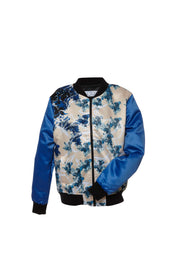 Milk Cream and Blue Satin Bomber Jacket by Saima from Curator of Crafts