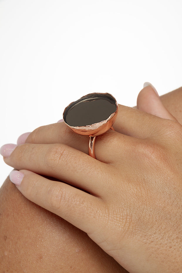 Mirrored Disc Dome Ring by Sonia Popiolek from Curator of Crafts