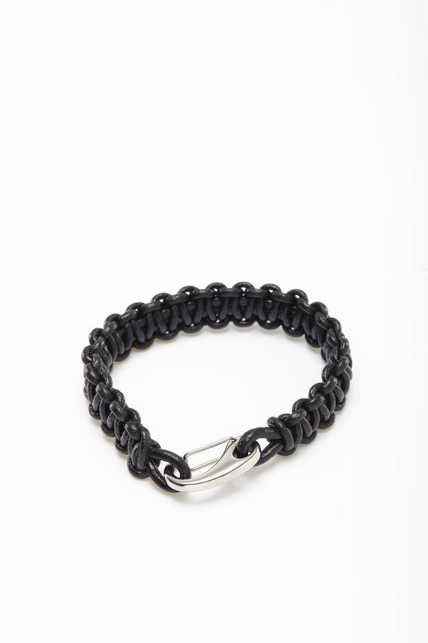 Black Paracord Hook Leather Wristlets from Curator of Crafts