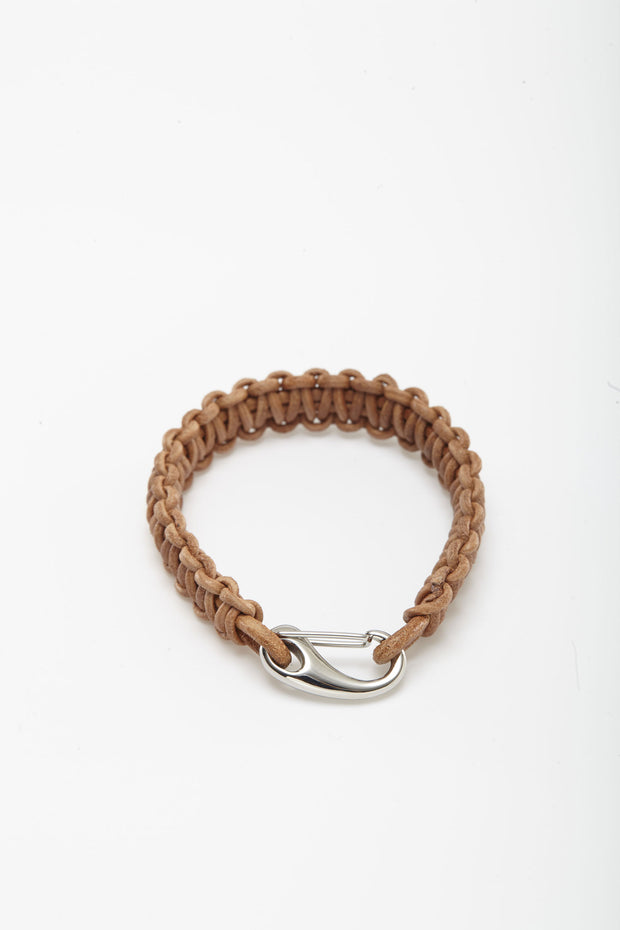 Tan Paracord Hook Leather Wristlets from Curator of Crafts