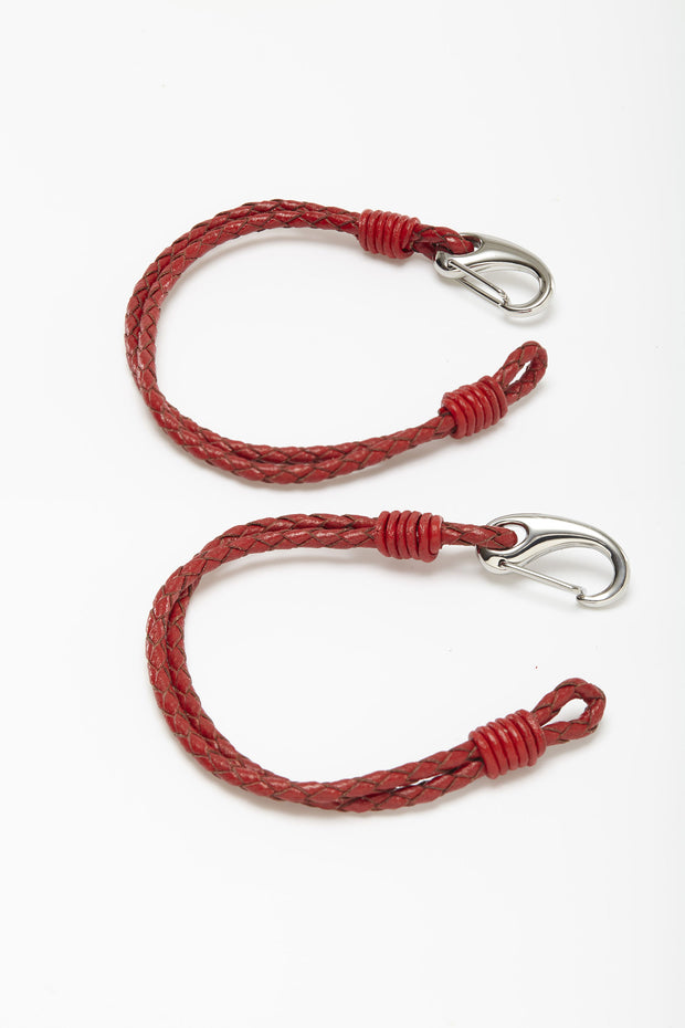 Thin Braided Red Leather Wristlets from Curator of Crafts