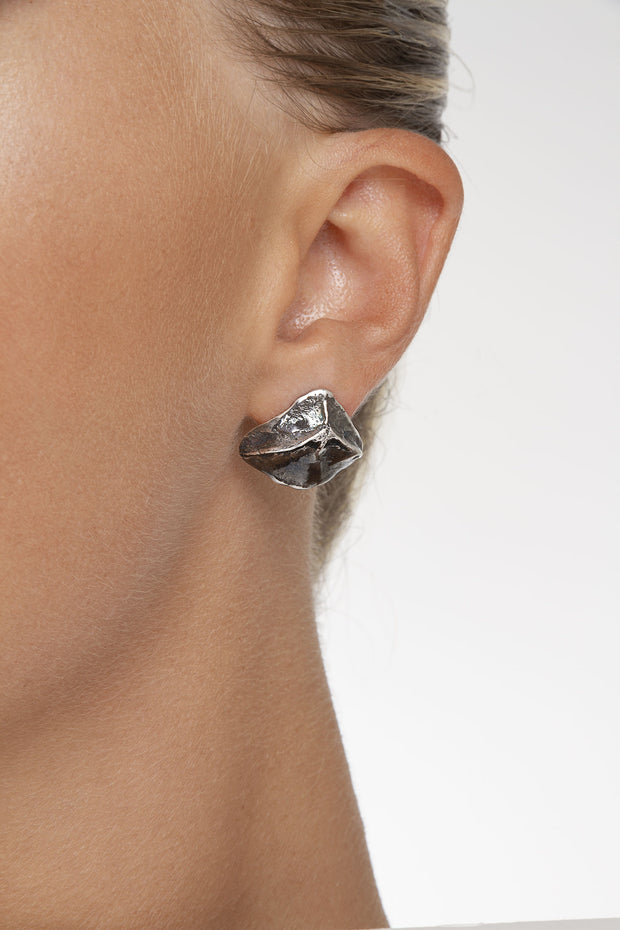 Silver Cat Skull Studs by Sonia Popiolek from Curator of Crafts