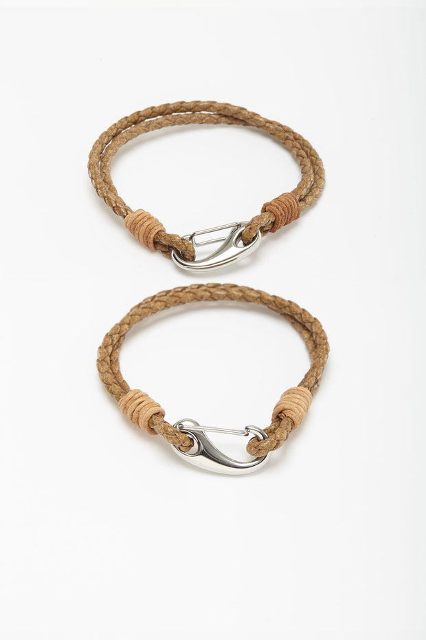 Thin Braided Tan Leather Wristlets from Curator of Crafts