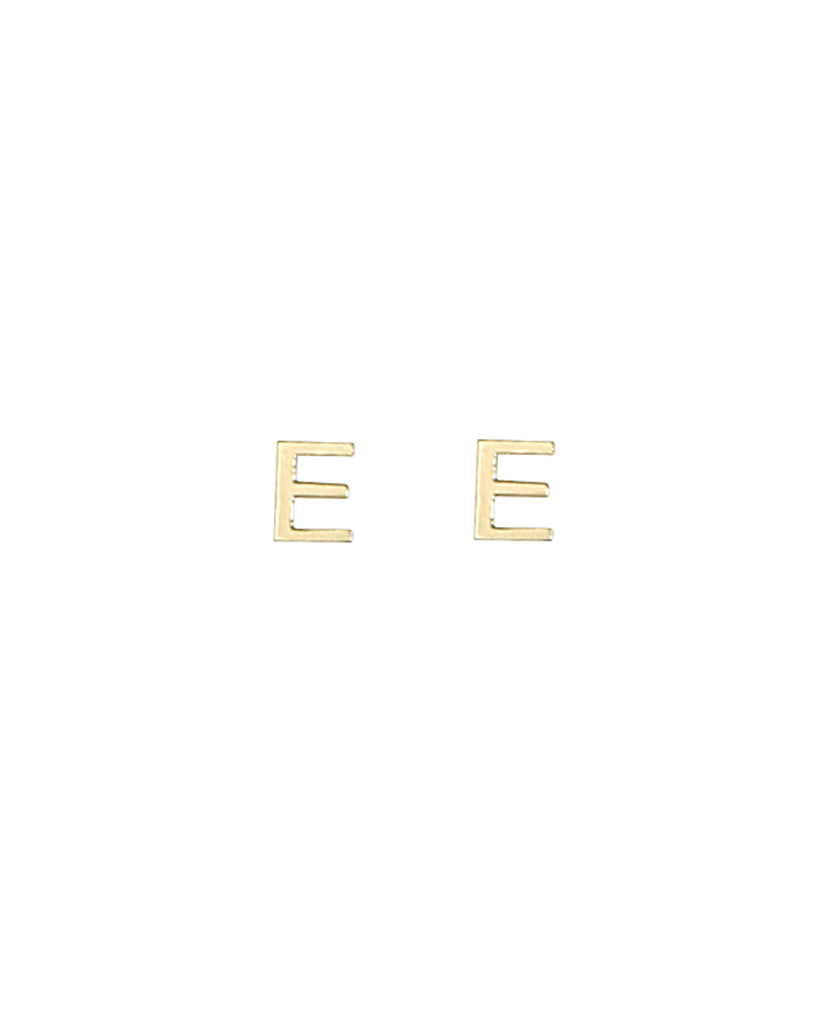 Gold Plated Initial E Earrings