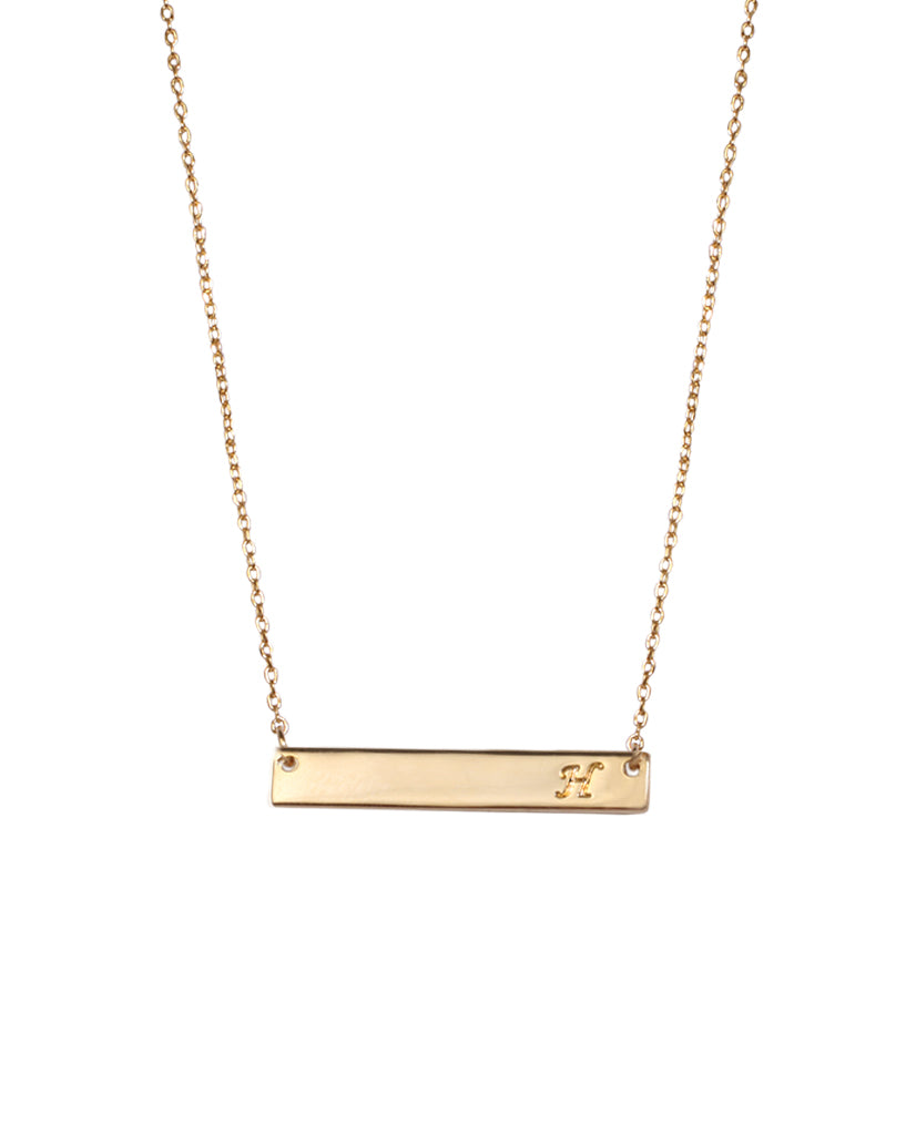 Initial H Bar Necklace with Rhodium Plating