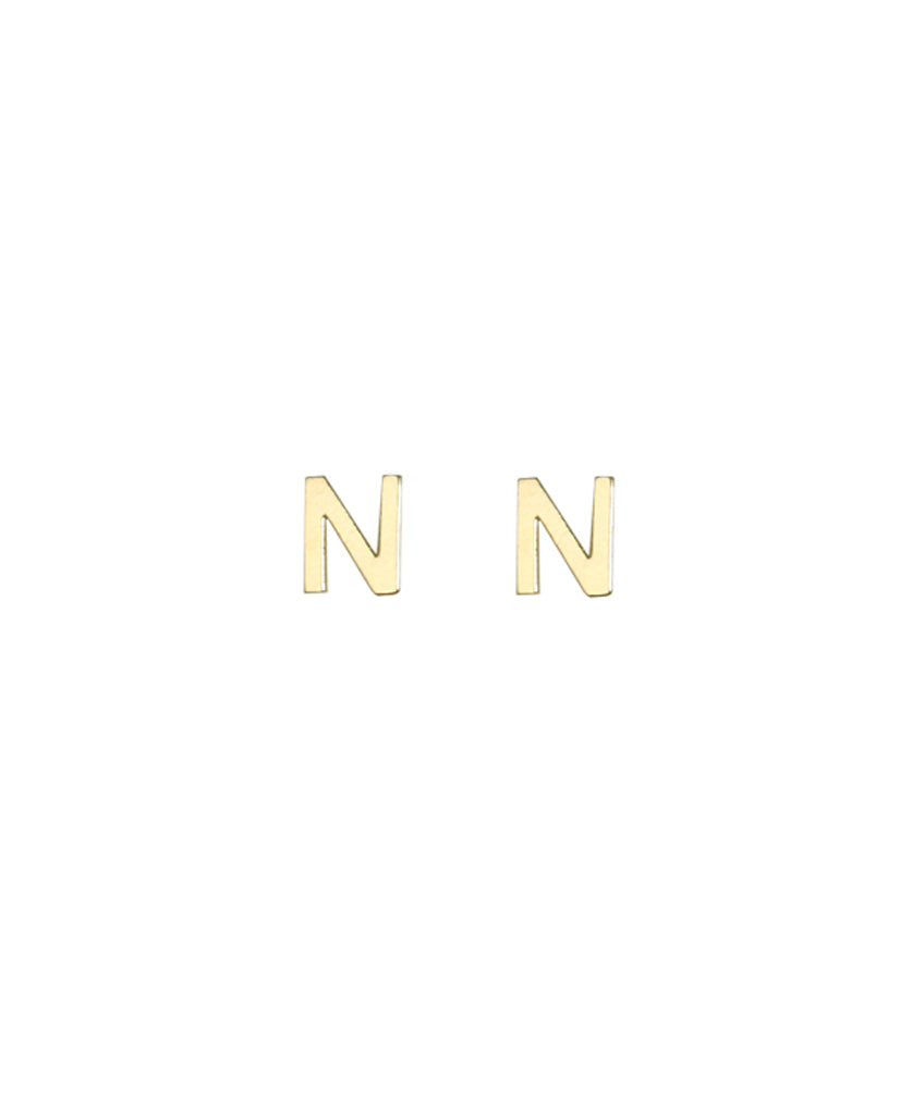 Initial N Earrings - BANSRI                                                                 Jewelry Lounge