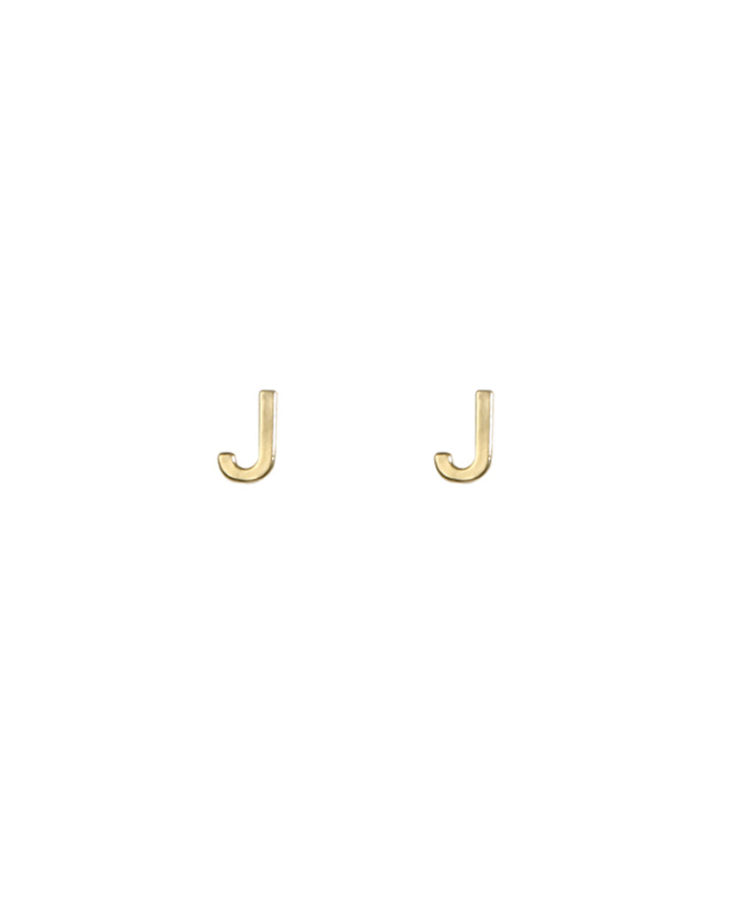Gold Plated Initial J Earrings