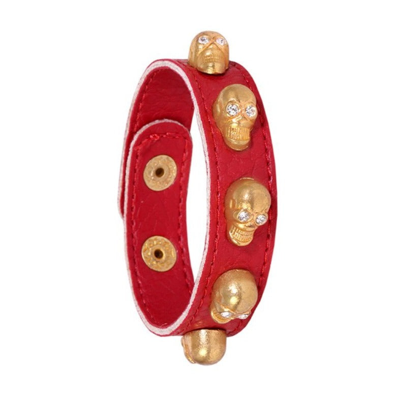 Red and Gold Skull Bracelet with Swarovski Crystals