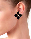Black Flower Pearl Stud Earrings in 18K Gold