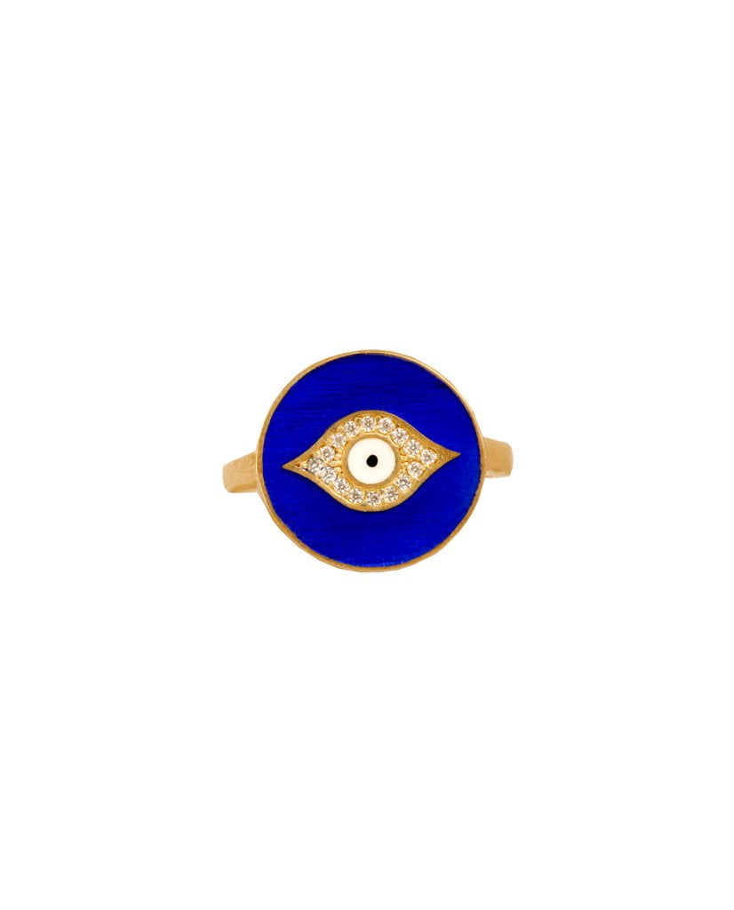 Royal Blue and Gold Third Eye Enamel Ring with Swarovski Crystals