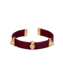 Maroon and Gold Leather Spike Bracelet with Agate Stones